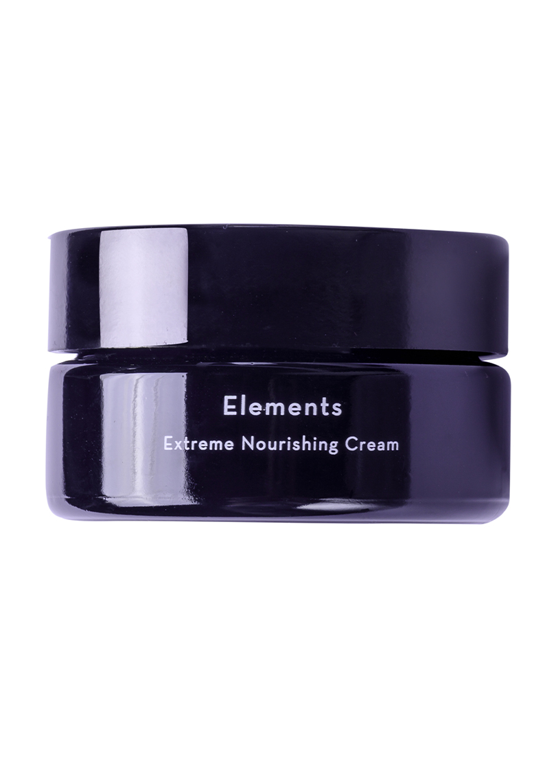 Elements - Extreme nourishing cream from arbū - а black glass jar with white letters