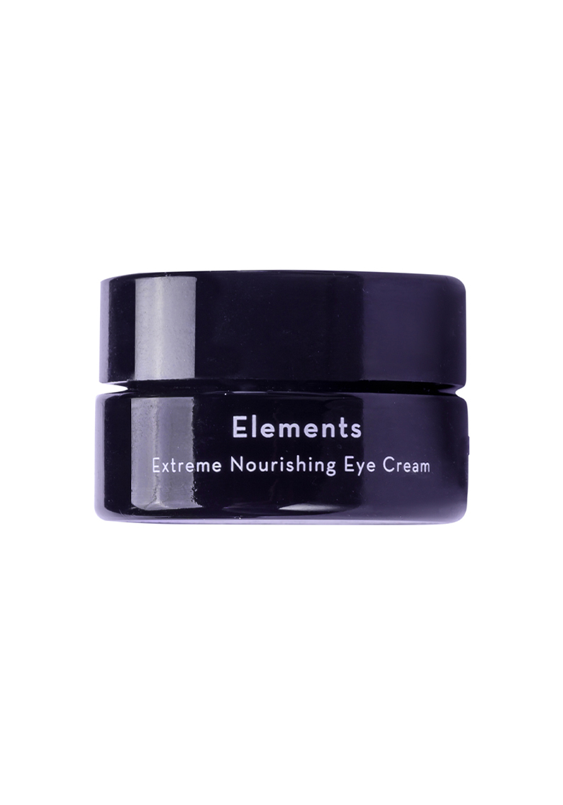 Elements – Extreme Nourishing Eye cream from arbū - a small black glass jar with white letters.