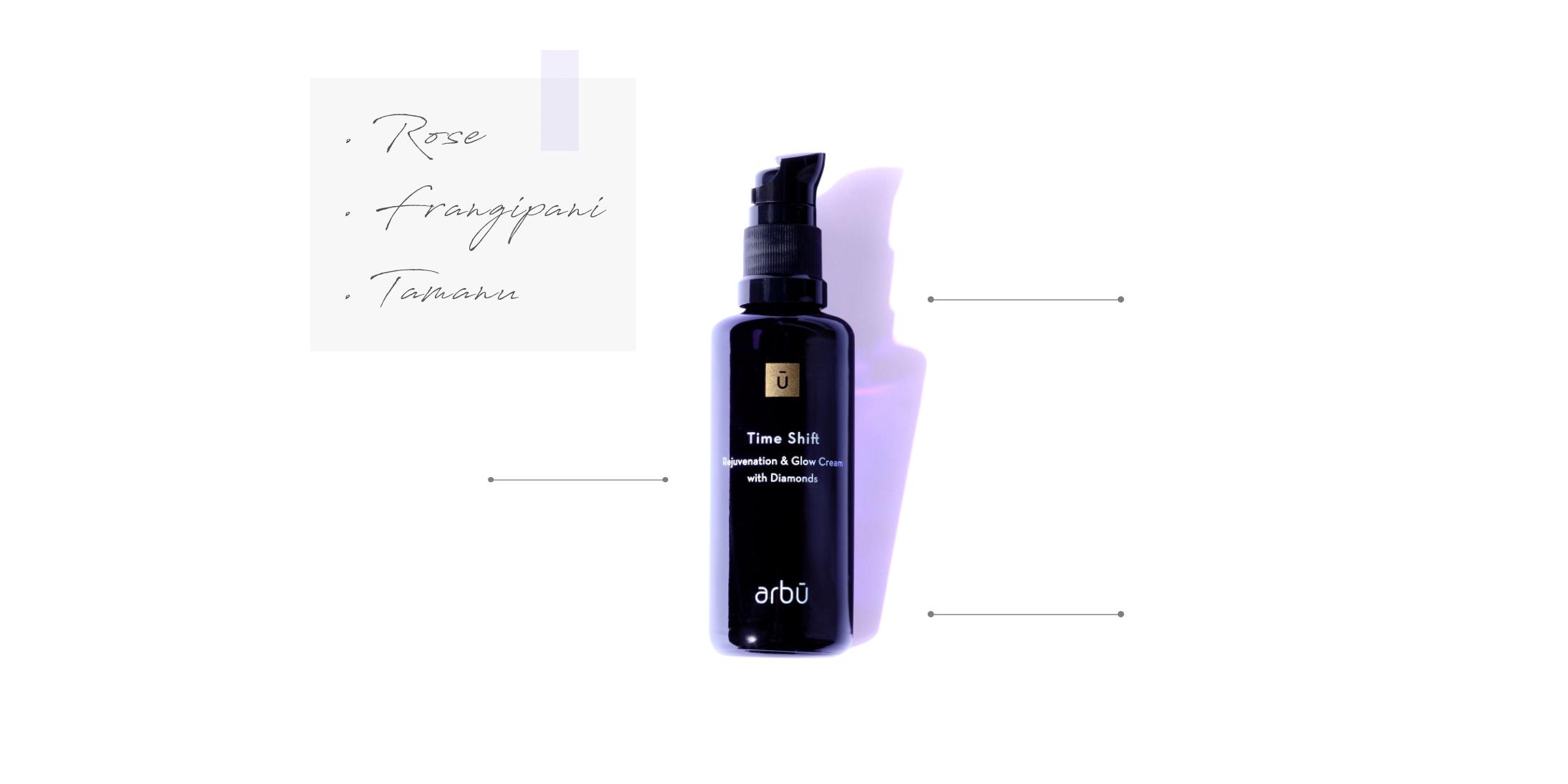 arbū time shift rejuvenation and glow cream ingredients